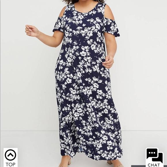 0440b155cad NWT 14 16 Lane Bryant Cold Shoulder Maxi Dress